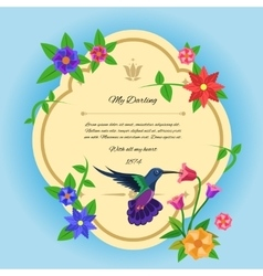 Bird and flowers postcard vector