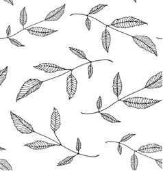 Black an white leaves seamless pattern background vector
