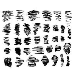 black brush strokes set vector image