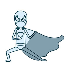 Blue shading silhouette of faceless kid superhero vector