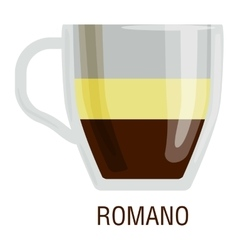 Coffee cups different cafe drinks romano vector