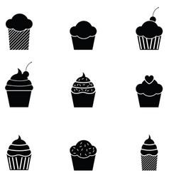 Cupcake icon set vector