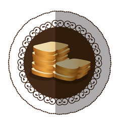 Emblem color white bread icon vector