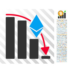 Ethereum falling acceleration chart flat icon with vector