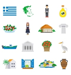 Flat icon set greece vector
