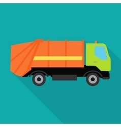 Garbage Truck in Flat Design vector image