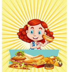 Girl and different kinds of fastfood vector