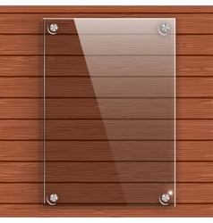 Glass plate on the background wall of wooden vector