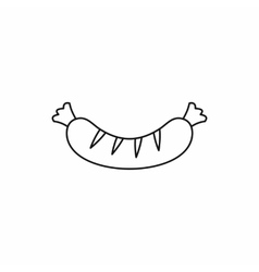 Grilled sausage icon outline style vector image vector image