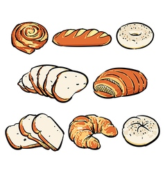 Hand drawn bakery breakfast drawing vector