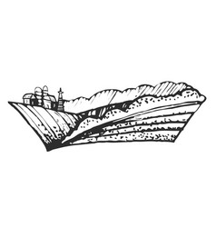 hand drawn of farmhouse and hills vector image