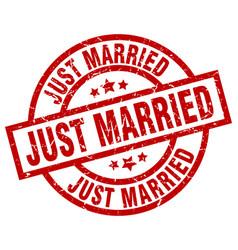 Just married round red grunge stamp vector