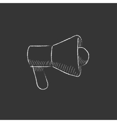Mmegaphone Drawn in chalk icon vector image