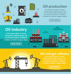 oil rig industry banner horizontal set flat style vector image