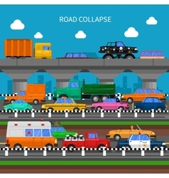 Road collapse background vector