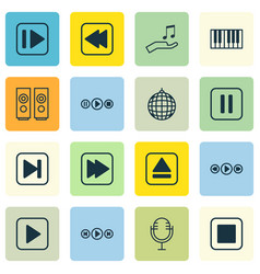 Set of 16 audio icons includes note donate audio vector