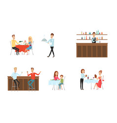 set of people in restaurant and at the bar flat vector image vector image