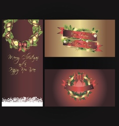Set of three separated christmas banners vector