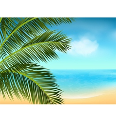 Summer sea and palm tree background landscape2 vector