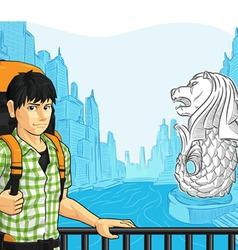 Tourist enjoying the view of singapore landmark vector