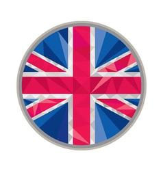Union jack uk gb flag circle low polygon vector