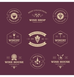 Wine labels on dark background vector image vector image
