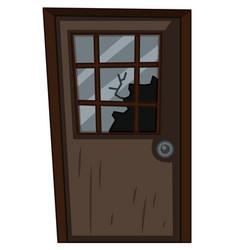 wooden door with broken window vector image vector image