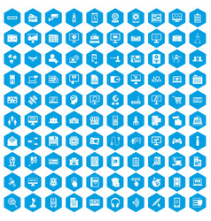 100 database icons set blue vector