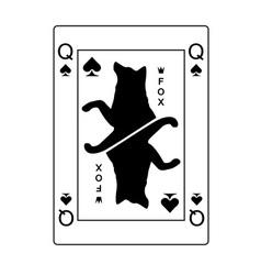 Fox queen of spades vector image