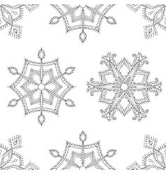 Zentangle winter snowflakes seamless pattern for vector