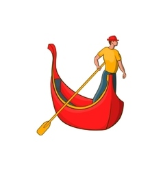 Venice gondola and gondolier icon cartoon style vector