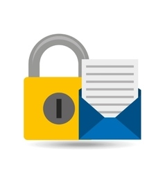 Email open newsletter padlock icon vector
