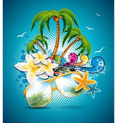 summer holiday flyer design with palm trees vector image