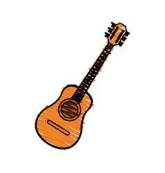 color crayon stripe acoustic guitar musical vector image