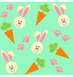 Seamless background with bunnies and carrots vector