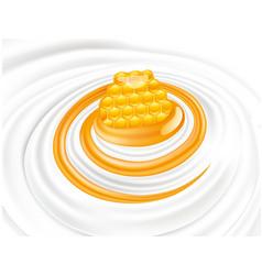 Sweet honey flow in milk whipped cream vector
