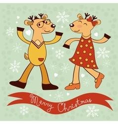 Christmas card with dancing deers vector image