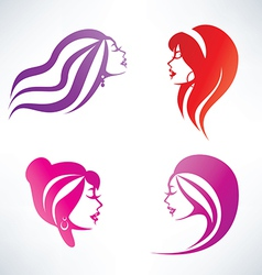 Women hairstyle isolated symbols collection vector