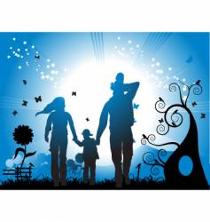 family and nature vector image