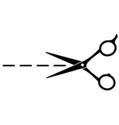 Cutting scissors with line vector