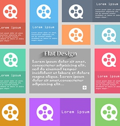 Film icon sign set of multicolored buttons metro vector