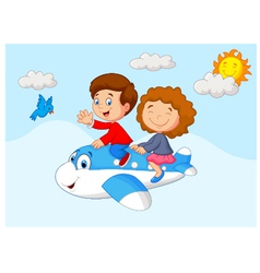 Kids going on a joyride in a mini plane vector