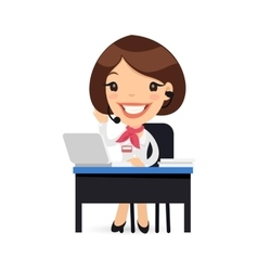 Female cartoon support character at her desk vector