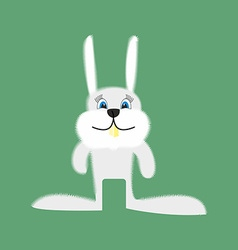 Funny bunny cartoon white rabbit on a green vector