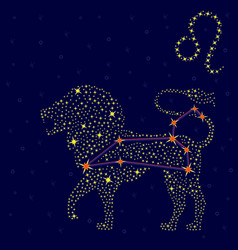 Zodiac sign leo over starry sky vector