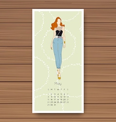 May hand drawn fashion models calendar 2016 vector