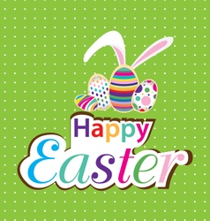 Easter bunny with colorful egg little gift at vector