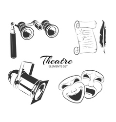 Elements for theatre labels or emblems vector
