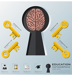 Education and learning key shape infographic vector