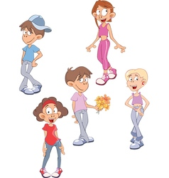 A cute little girls and boys vector